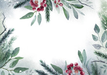 Watercolor Christmas Leaf Frame. Hand Painted Floral Garland With Berries And Fir Branch, Isolated On White Background. Christmas Card.