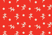Christmas Seamless Pattern With Deers And Stars On Red Surface
