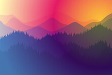 Mountains Range Morning Or Evening Landscape With Fog And Forest. Sunrise And Sunset Play Of Colors And Light In Mountain Rocks Vector Horizontal Eps Illustration