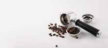 Carob Coffee Machine Tools, Coffee Beans On White Background, Banner