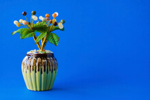 Artificial Jade Tree For Decorating Your Desk And Giving As A Gift On A Blue Background.