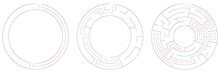 Circle, Circular Maze, Labyrinth Riddle Game Set. Problem Solving, Rebus, Puzzle, Brain Teaser Concept S