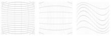 Set Of Deformed, Distorted Grids, Meshes. Flex, Camber, Deformity Effect On Lattice, Grating, Trellis Elements