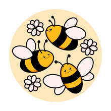 Cute Set Of Bees In A Round Frame Vector Illustration In Doodle Style. Colorful Collection Of Bumblebees In A Circle, Kids Drawing For Icon And Logo Design In Yellow And Black Colors Isolated On White
