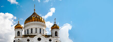 The Cathedral Of Christ The Saviour Over Blue Background With Clouds, Panoramic Layout, Moscow, Russia,