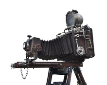 Vintage Film Camera Large Format With Bellows Isolated On White Background