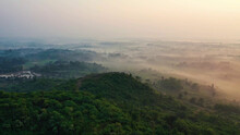 Valley Covered With Fog, Bird's Eye View, Dense Vegetation, Trees