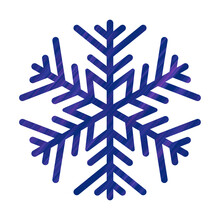 Snowflake With Blue And Purple Texture. Icon Logo Design. Ice Crystal Winter Symbol. Template For Winter Design.