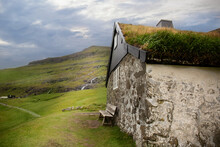 Traditional Stone Wooden House With Grass Roof In Saksun Village, Faroe Island.