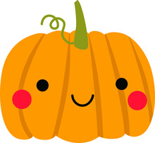 Cute Autumn Pumpkin On The White Isolated Background.