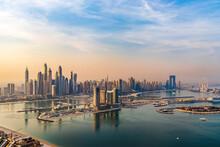 Dubai, UAE - 09.24.2021 Dubai City Skyline On Early Morning Hour. Dubai Marina. Urban