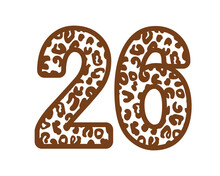 26, Number Twenty SixWith Figures Leopard Print, Panther Skin