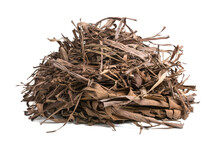 Heap Of Dried Banana Tree Leaves, Dead, Fallen And Discolored Leaves To Make Garden Compost, Closeup Isolated In White Background