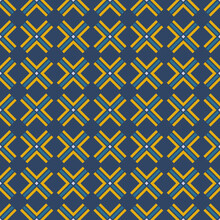 Simple Geometric Ornament. Yellow-blue Crosses From Lines. Seamless Vector Textile Pattern. Design For Wrapping, Wallpaper, Fabrics.