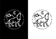 Black And White Color Of Wolf Line Art