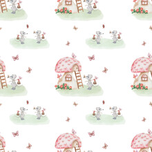 Watercolor Seamless Pattern From Hand Painted Illustration Of Red Mushroom House, Grey Mouse, Butterfly, Lady Bug On White Background. Cartoon Style For Autumn, Forest Fabric Textile, Print Design
