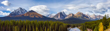 Panoramic View Of Canadian Rocky Mountain Landscape. Fall Season Cloudy Sunny Sky. Lake Louise, Banff National Park, Alberta, Canada. Nature Background Panorama