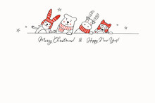Christmas Greeting Card With Stylized Animals In Winter Clothes. Hand Drawn