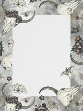 Watercolor Gothic Frame, Dark Flowers, Cow Scull And Moths. Halloween Invitation.