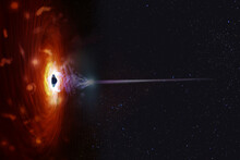 Black Hole With Nebula Over Colorful Stars And Spot Fields In Outer Space. Elements Of This Image Furnished By NASA.