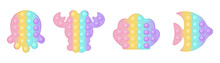 Set Of 5 Marine Life S Popit Trendy Silicon Fidget Toys . Antistress Addictive Toy For Fidget In Pastel Colors. Bubble Sensory Developing Popit For Kids Fingers. Isolated Cartoon Vector Illustration.