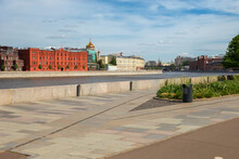 Moscow,  View On Prechistenskaya Embankments,  Muzeon Culture And Leisure Park, And The Moskva River With The Peter The Great Statue