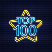 Top 100 - Top Ten Gold With Blue Neon Label On Black Background. Vector Illustration.