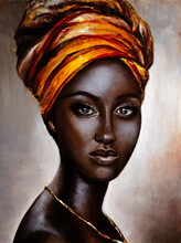 Portrait Of A Dark-skinned Girl Painted In Oil Paints