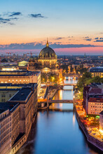 Berlin Skyline At Sunset With View Of Spree And Berlin Cathedral