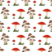Seamless Pattern With Amanita Mushroom With Red Hat And White Dot, Toadstool And Grass. Bright Fly Agaric Print