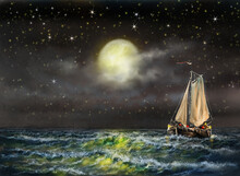 Digital Oil Paintings Sea Landscape,  Fishing Boat, Old Ship In The Night Sky, Boat  Over The Moon
