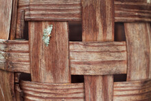 Old Wooden Basket Texture. Handmade Wicker Basket With Close Up. Rural Background.