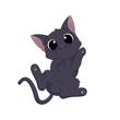 Ręcznie rysowany uroczy mały kotek. Wektorowa ilustracja zadowolonego, rozbawionego kota. Słodki, zabawny zwierzak. Obrazki dla dzieci.