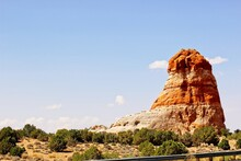Rock Outcropping Protruding From High Desert
