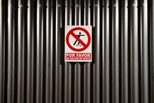 No Skateboard Jumping On Corrugated Iron Sign