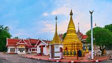 Panorama With Chedi And Mondop Shrines Of Wat Koh Walukaram Temple, Lampang, Thailand
