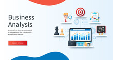 Business Analysis Concept. Computer With Business Charts On The Screen. Chess Pieces, Analyst, Target, Statistics, Planning Icons. Web Vector Illustrations In 3D Style