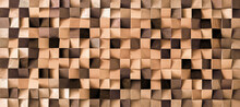 Natural Color Wood Block Wall Cubic Texture Background . Modern Contempolary Woodwork Wallpaper Artwork Design .