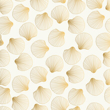 Gold Pattern With Shell. Vector Fancy Scallop Design.