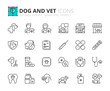 Simple set of outline icons about dogs and vet. Pets.