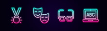Set Line Medal, Comedy And Tragedy Masks, Glasses And Laptop. Glowing Neon Icon. Vector