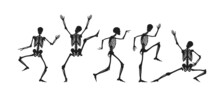 Dancing And Running Black Silhouettes Of Skeletons. Dead People Jumping Merrily And Standing On Their Hands Creepy Abstract Dial Made Of Vector Bone Figures.