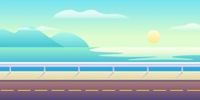 Highway On Seaside. Asphalt Road With Markings Along Ocean Coast Colorful Blue Waves And Rising Vector Sun With Clouds.