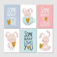 Set Of Cards With Bunny And Lettering, Some Bunny Loves You