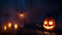 Halloween Illustration With Spooky Candlelit Gravestones And Jack O' Lantern.