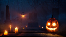 Halloween Illustration With Eerie Candlelit Tombstones And Scary Pumpkin.