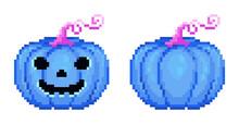 Pixel Art Halloween Cute Blue Pumpkin Set. Pixel Jack Halloween Pumpkin Lantern In 8 Bit Style. Vector Icons Of Happy Toxic Blue Pumpkin Jack Face. Jack O Lantern Halloween Pixel Blue Pumpkin.