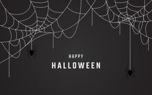 Happy Halloween Background Vector Design, Spider Web