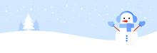 Snowman In Blue Headphones, Mittens And A Scarf On A Blue And White Background With Trees And Falling Snow. Christmas Banner. Flat Vector Illustration