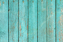 Old Green Wooden Wall With Cracked Paint, Background Texture